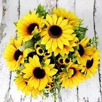 Bouquet de tournesol jaune en soie  7 branches Bouquet  belle fleur artificielle  tete de marguerite pour mariage  fete danniversaire  decoration de jardin de maison