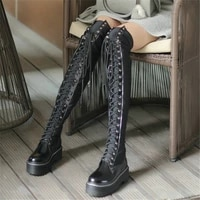 chunky platform shoes women lace up stretchy over the knee high motorcycle boots female round toe thigh high fashion sneakers