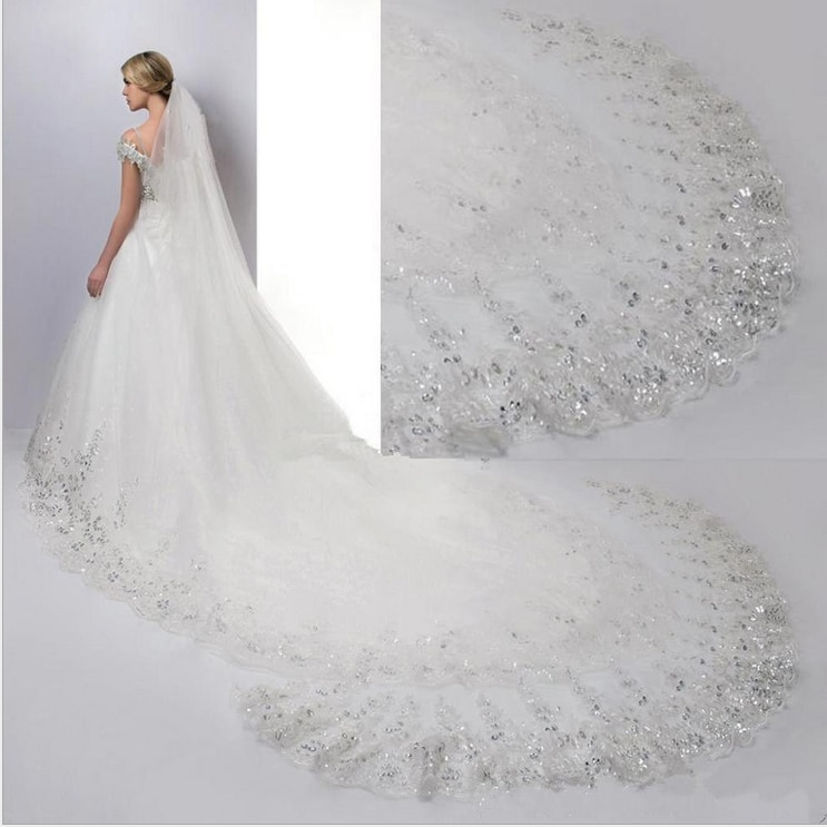 White Ivory wedding veil Cathedral Wedding Veils Long Lace Edge Bridal Veil with Comb Accessories