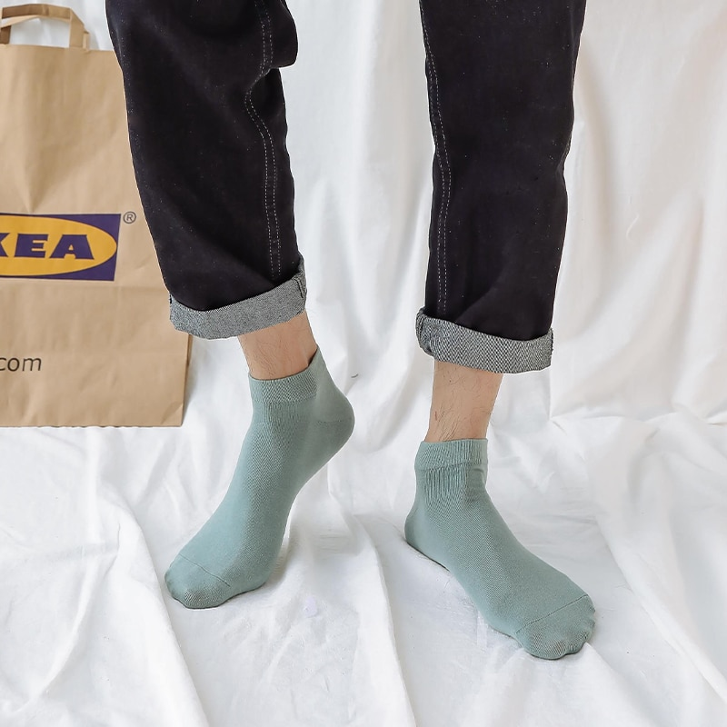 Socks Male Socks Pure Cotton Stink Prevent Sweat Absorbing Summer Thin Korean Style Solid Color Simp