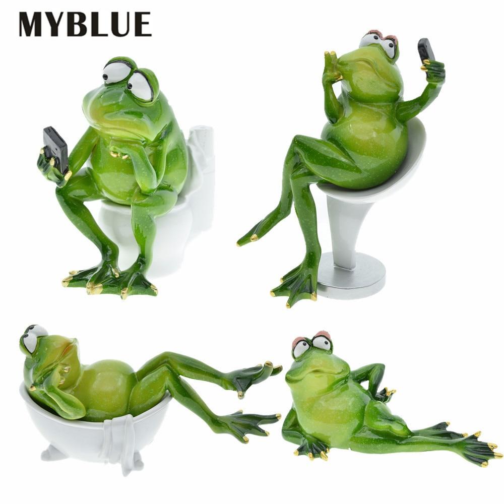 MYBLUE Kawaii الاصطناعي الحيوان الراتنج الضفادع في الحياة مريحة التماثيل غرفة المنزل زينة اكسسوارات الحرف الحديثة