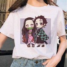 Été femme T-shirt Kimetsu No Yaiba Kawaii T-shirt japonais anime démon tueur T-shirt dames Ulzzang Harajuku femme dessin animé