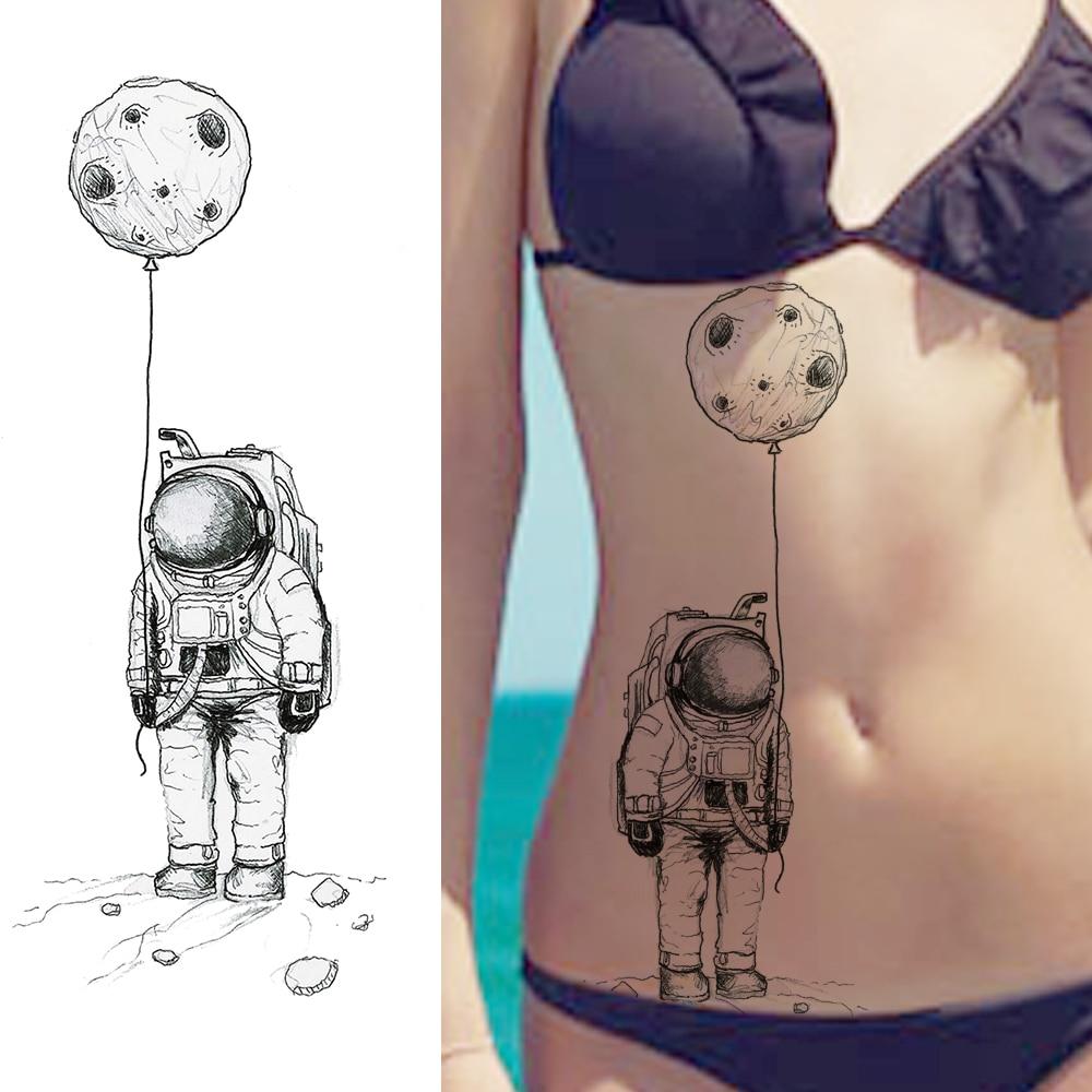 Tatuajes temporales de dibujos animados de astronauta grande negro para Lday pegatinas tipo tatuaje para niños arte corporal para mujer tatuajes a prueba de agua
