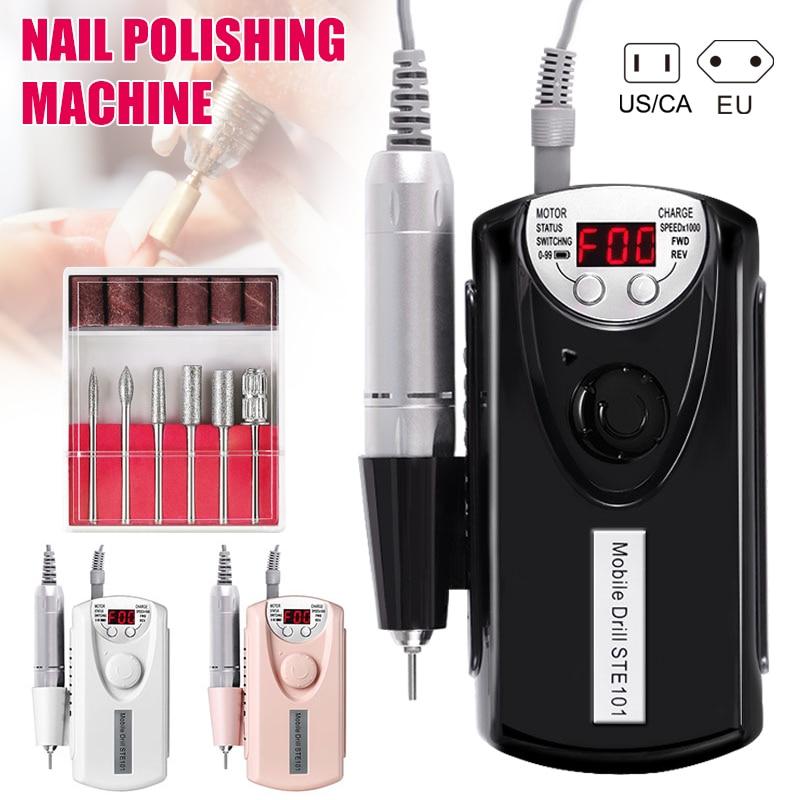 1 Juego de pulidora de uñas máquina eléctrica de taladro de uñas recargable fuerte pulido herramientas de manicura Kit de cabezal de broca