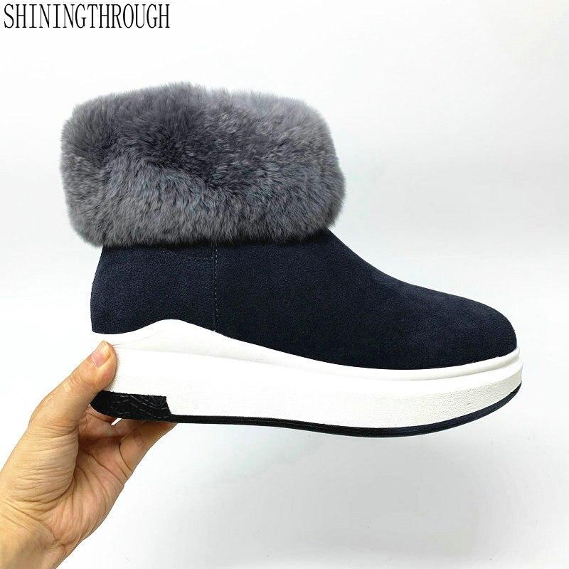 Botas de nieve de piel auténtica, botas hasta los tobillos abrigadas de invierno de piel auténtica de 100%, zapatos de plataforma plana para mujer, zapatos negros y grises de talla grande 33-43