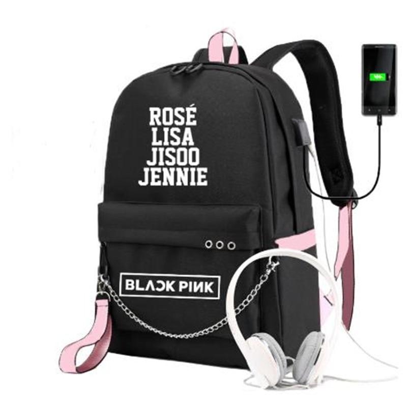 Mochila LISA BLACKPINK para niñas, estudiantes de escuela, mochilas escolares con carga Usb para adolescentes, Mochila de viaje de lona de gran capacidad