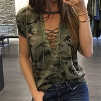 fashion women summer loose top t shirt 2021 summer short sleeve camo sexy t shirt ladies camouflage printed casual tops t shirt