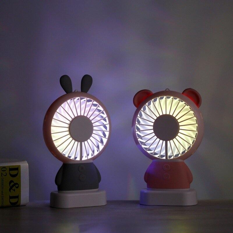 Ventilador portátil de ventilador Mini ventilador USB con luz LED y Oreja De 3 Speedsjjps