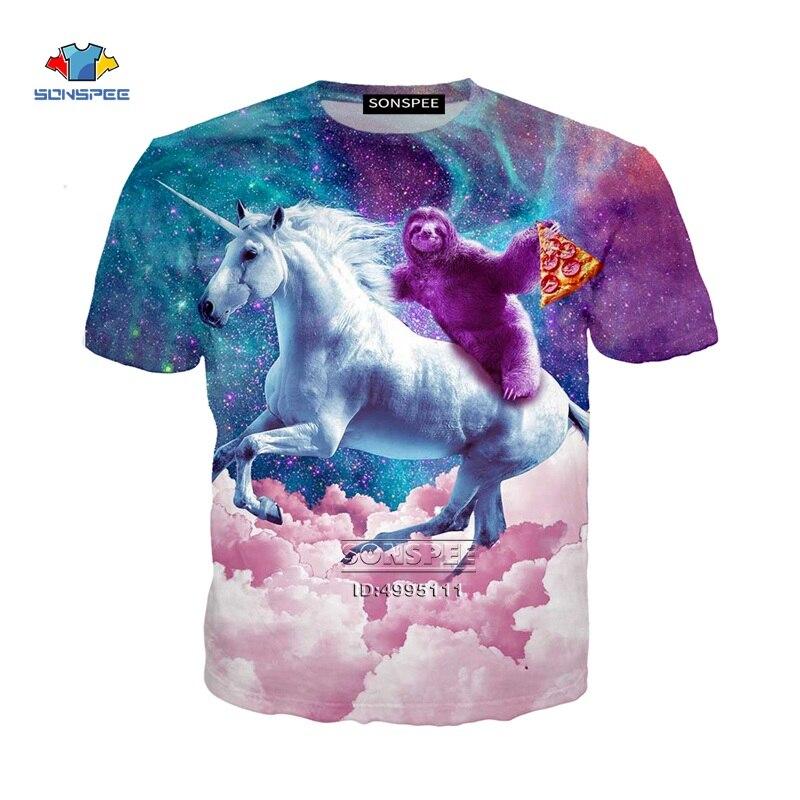 Espaço gato pizza sloth alpaca unicórnio hamburgo 3d impressão camisetas masculinas camiseta casual verão camiseta hip hop roupas