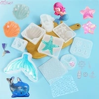 3d mermaid tail starfish shell dolphin silicone cake mold fondant soap mould cake decorating baking tools jewelry craft diy tool