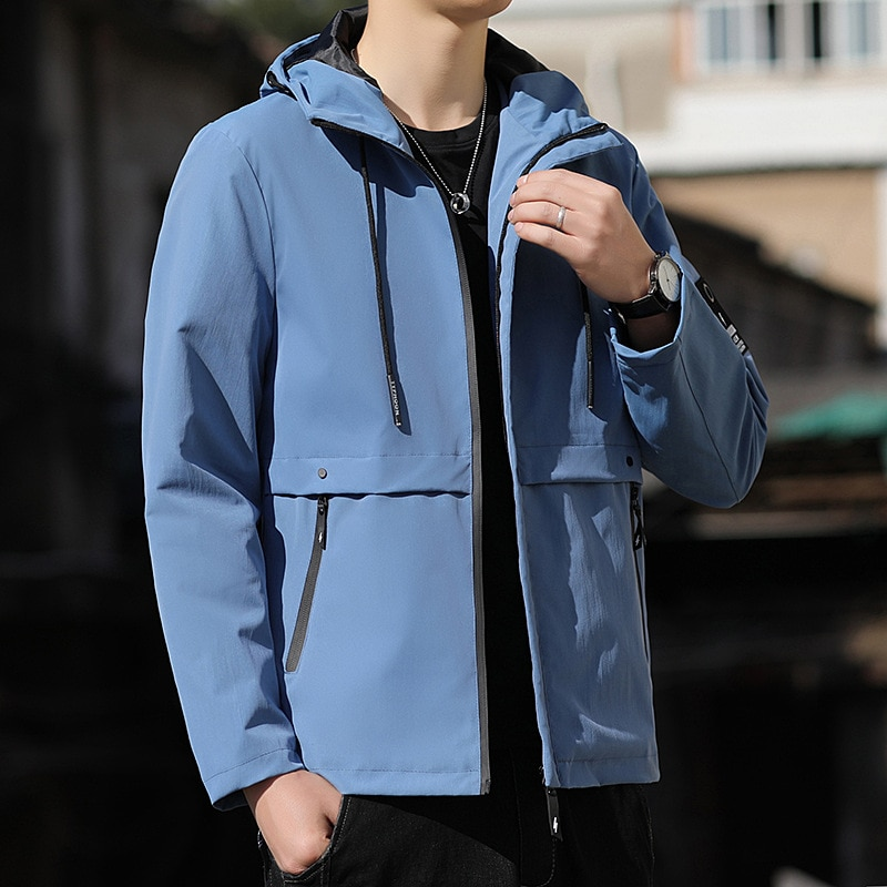 Уличная новинка, куртка, Мужская одежда, корейская мода, приталенный красивый весенне-осенний мужской пиджак с капюшоном, мужская мода