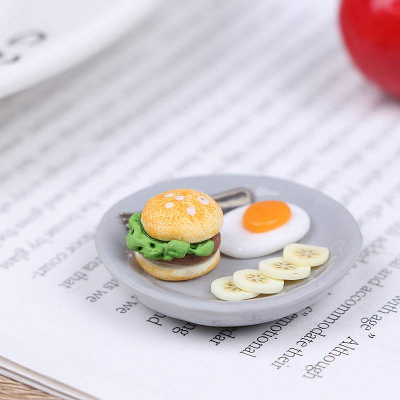 112 гамбургерное яйцо с поддоном, 112, миниатюрный набор для завтрака, кукольный домик, кухонные аксессуары для еды