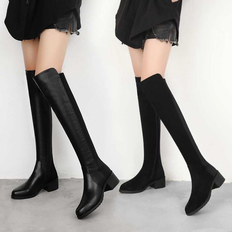 High boots women Winter 2020 Sexy Over The Knee Boots Women Black Fashion Suede PU Comfort Thigh High Boots Female Long Boots