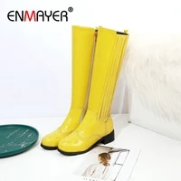 enmayer 2019 patent leather knee high boots round toe cool motorcycle boots square heel winter boots women short plush 34 43