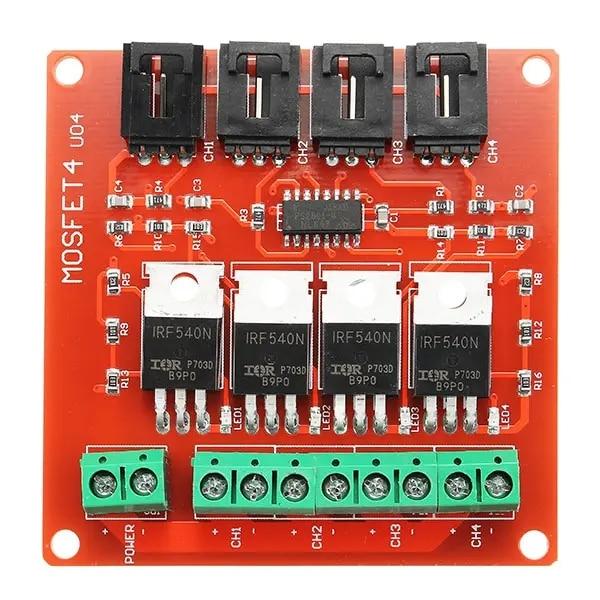 Módulo de interruptor de botón MOSFET 4 Route IRF540 de cuatro canales para unidades de Motor, regulador de luz