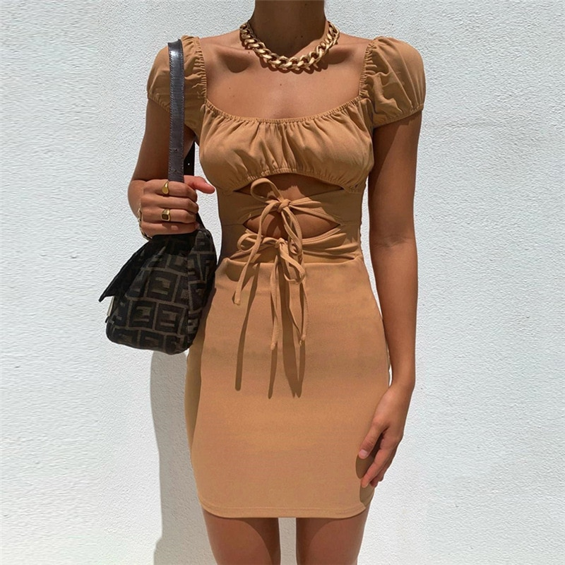 Casual Women'S Dresses Bodycon Short Sleeve Brown Strappy Summer Dress 2021 Hollow Out Square Collar Woman Clothes Backless