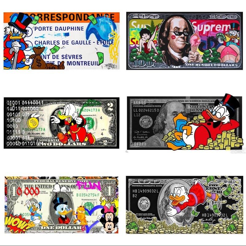 Мультяшный холст голова первая скручивающаяся макдак настенное искусство денежный пресс 100 доллар Билл холст искусство на стену искусство ...