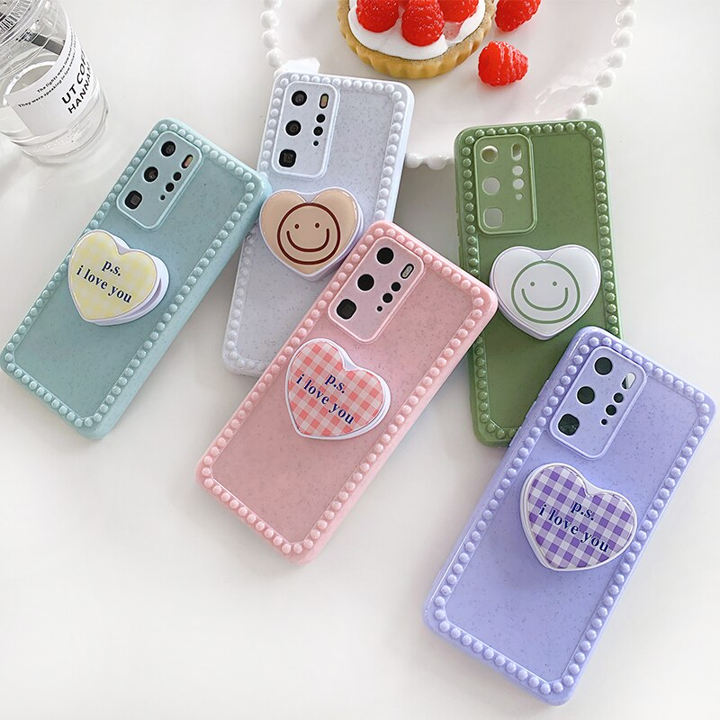 Funda de teléfono plegable 3D love smiley, popular coreana, para HUAWEI P40 pro P30 PRO Mate 30 pro Nova 5 nova 6 nova7, bonita funda