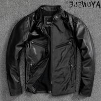 Genuine Men Jacket Cowhide Leather Motorcycle Mens Jackets Autumn Coat Fashion Clothes Male 2021 Hommes Veste LXR679