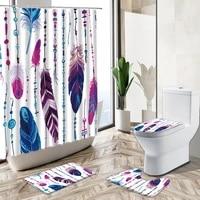 hand painted colorful feather shower curtain set bohemian tribal culture art home decor bath mat toilet cover bathroom carpet