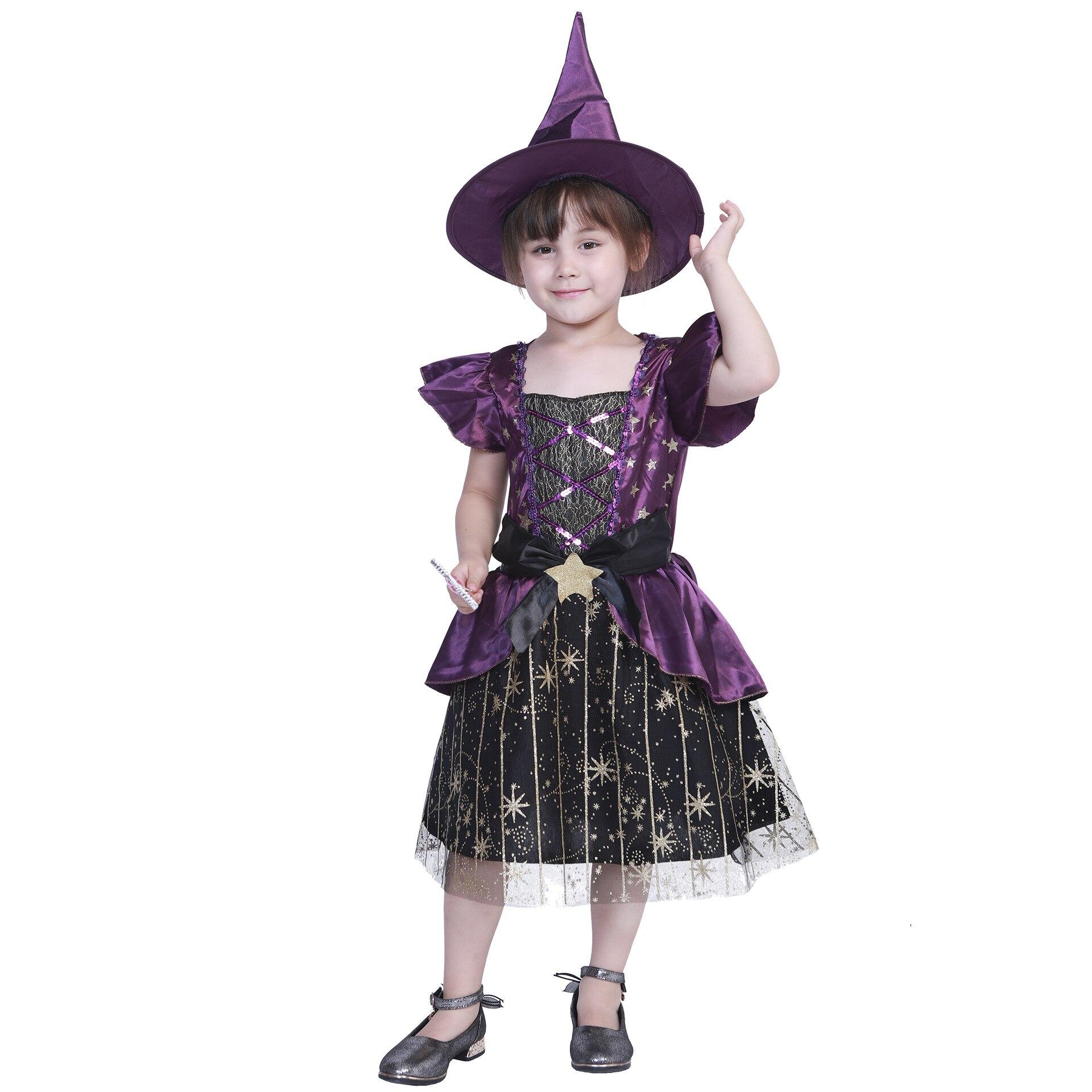 Conjunto de niños, patrones de estrellas de Halloween, cuello cuadrado con mosca...