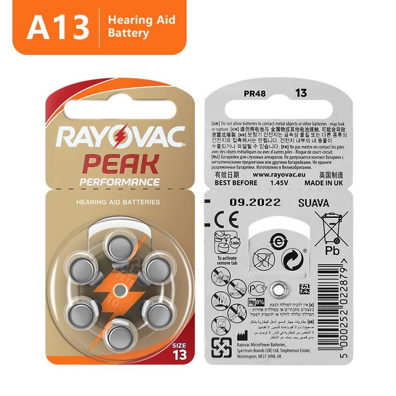 Батареи для слухового аппарата Rayovac, 60 шт., 13A A13 13A 13 P13 PR48, батарея для слуховых аппаратов BTE