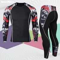 mma long sleeve mens sport suit compression sportswear set men thermal fitness clothing tracksuit for man
