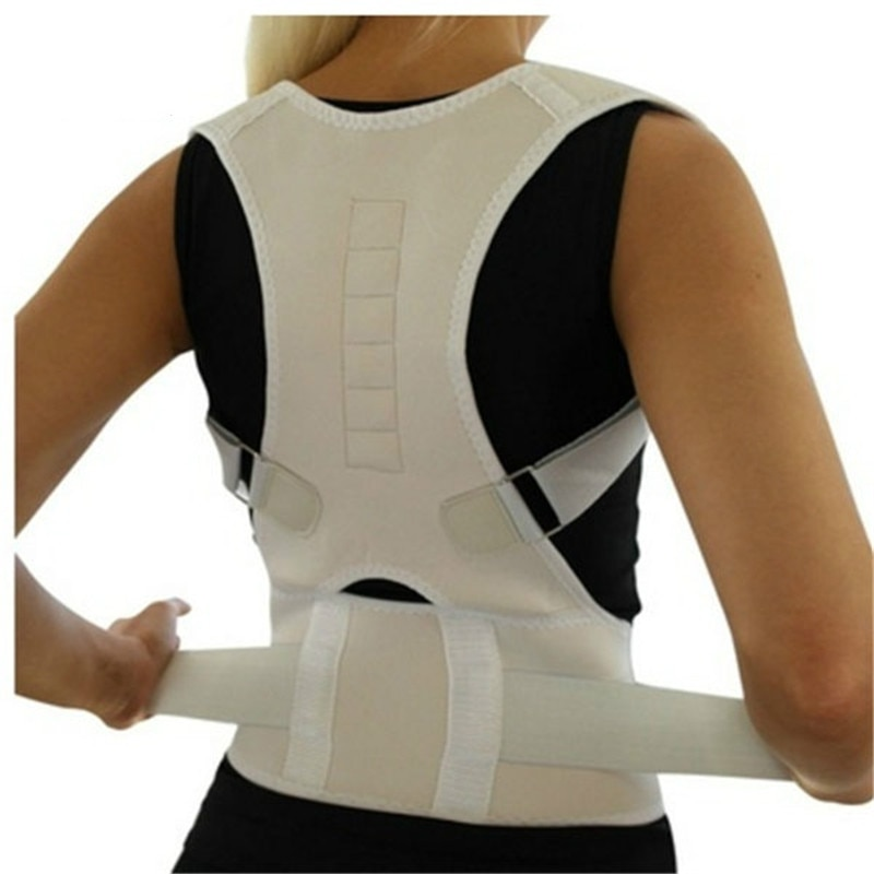 Adjustable Magnetic Posture Back Support Corrector Belt Band Belt Brace Shoulder Lumbar Strap Pain R