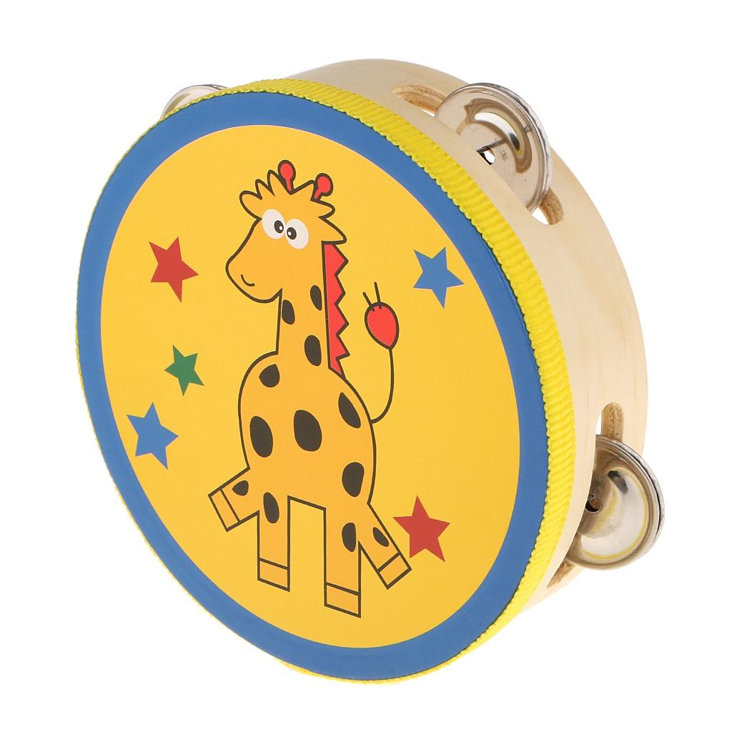 Holz Tamburine Trommel Glocke Spielzeug Kinder Musical Percussion Instrument Spielzeug Panda