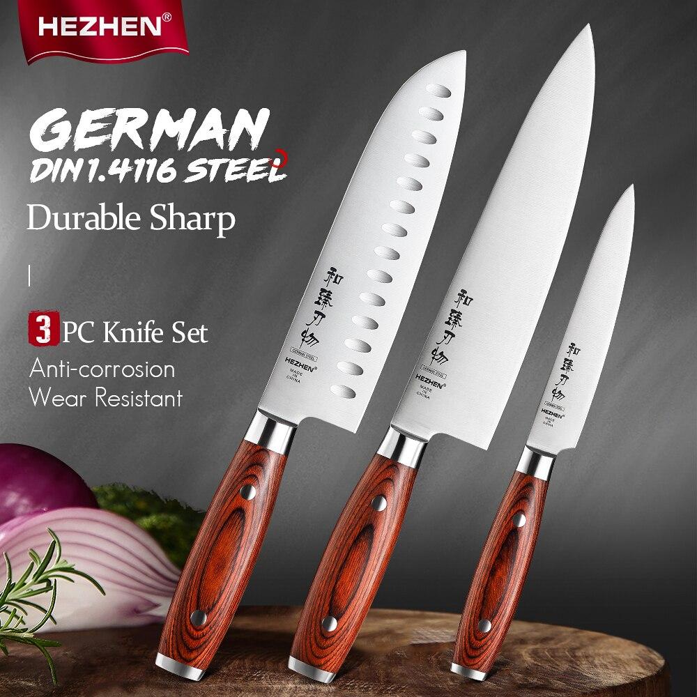 HEZHEN 1-3 قطعة سكين مجموعة الشيف Santoku فائدة الفولاذ المقاوم للصدأ الخشب Pakka مقبض حادة كوك السكاكين أدوات جميلة هدية مربع
