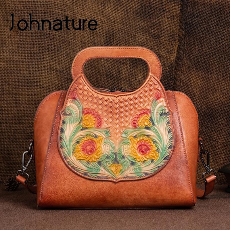 Jhnature جلد طبيعي حقيبة يد فاخرة النساء حقائب مصمم الخريف الشتاء جديد Vintage جلد البقر الحقيقي تنقش حقائب كتف
