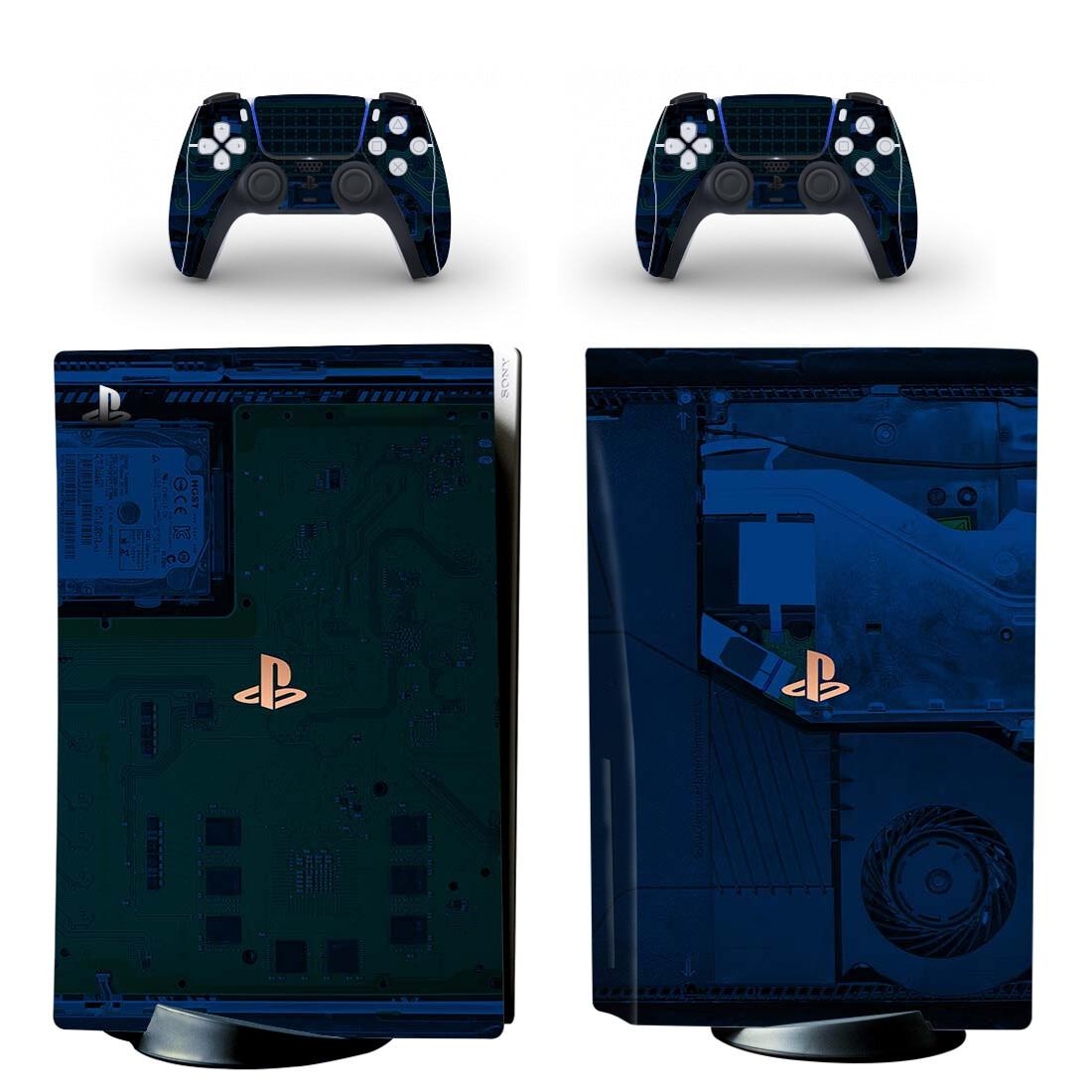 طبعة محدودة PS5 القياسية القرص الجلد ملصق غطاء لاصق لامع ل بلاي ستيشن 5 وحدة التحكم و 2 تحكم PS5 القرص الجلد الفينيل