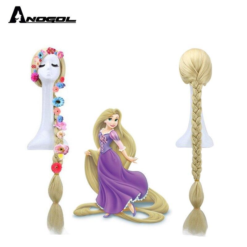 Anogol enchevêtré princesse raiponce longue droite tressée Blonde cheveux synthétiques Six fleurs Cosplay Costume perruques pour Halloween