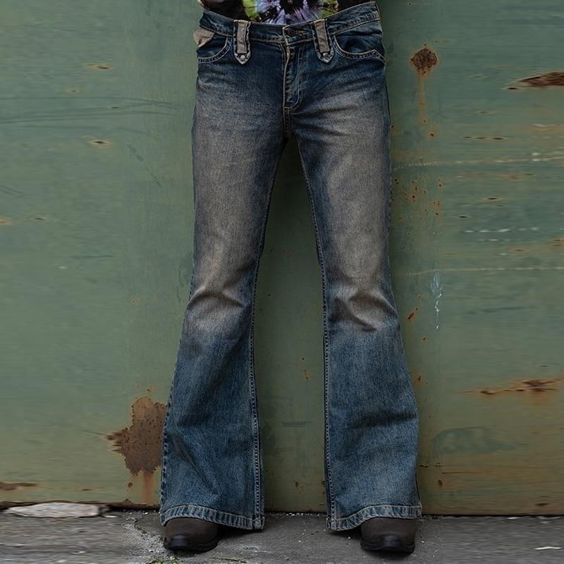 Pantalones Vaqueros Acampanados para Hombre, Jeans desgastados de retales Con parte inferior...