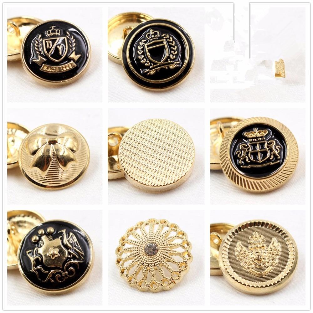 10 Uds., botón de metal de color dorado, botones clásicos de famosa marca en el mundo, Accesorios para prendas de vestir, materiales de bricolaje, botón de aceite de punto negro