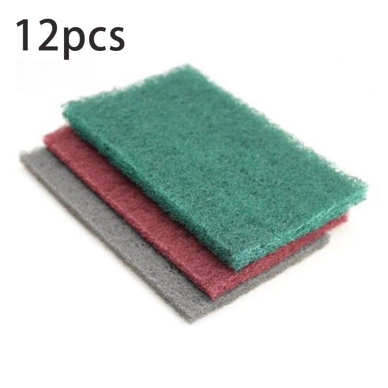 12x juego de paño de fregar lijado de mano grueso a fino almohadillas de pulido herramienta de limpieza
