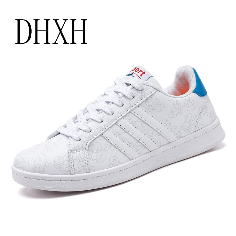 DHXH 2019 zapatos de primavera para mujer, zapatos para hombre, par de zapatos de lona Pokemon Pikachu, zapatos casuales, zapatos de lona blanca, zapatos deportivos PU