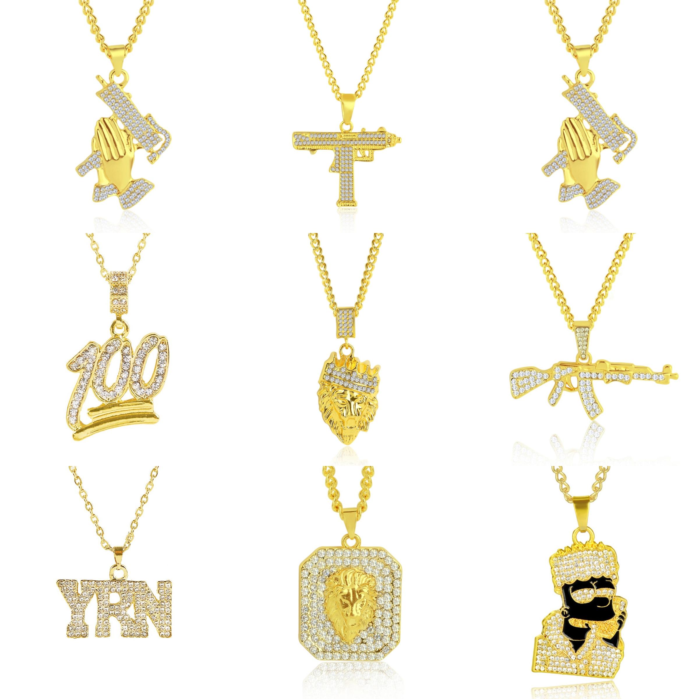 Collares con colgante de pistola UZI con personalidad para hombre y mujer, collar Hip Hop con cadena, joyería Punk a la moda, joyería para Club