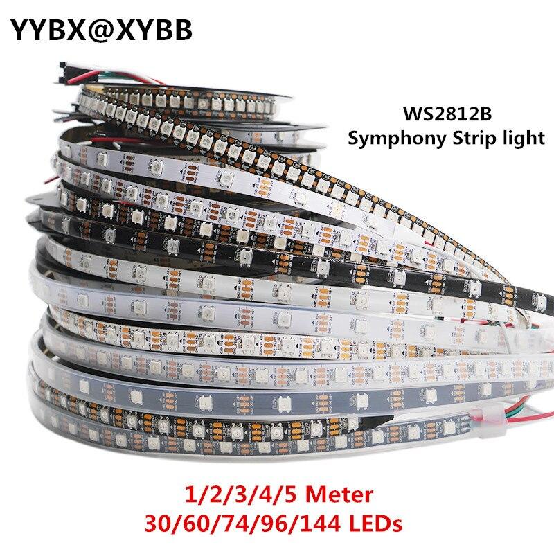 Ws2812 ic 1 m-tira esperta do pixel do diodo emissor de luz de 5m ws2812b, pwb preto/branco, 30/60/144 leds/m; ws2812b/m 30/60/144 pixels, IP30/IP65/IP67 DC5V