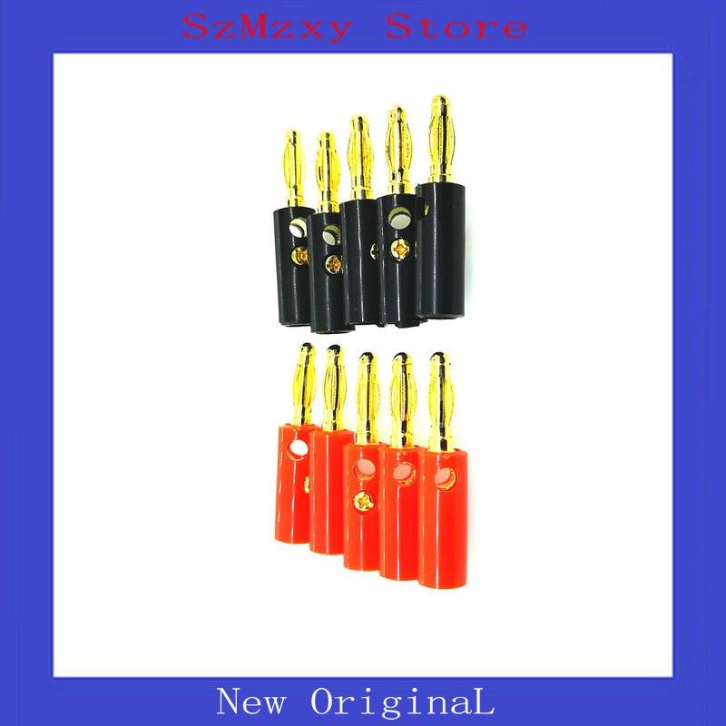 10 pcs áudio alto-falante parafuso banana ouro placa plugues conectores 4mm preto vermelho banana plug conector