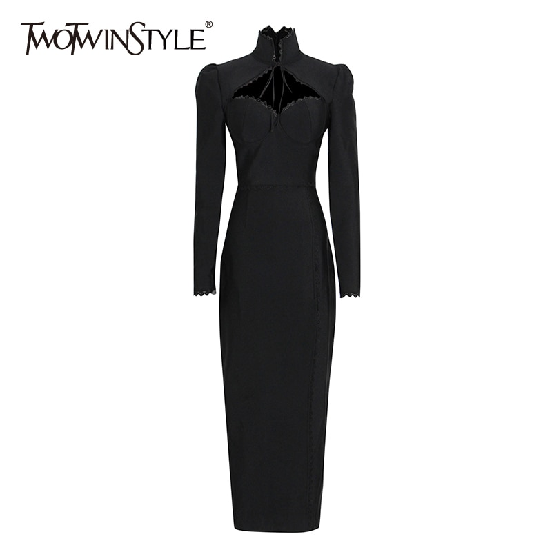 TWOTWINSTYLE غمد فستان عادي للنساء قطع الوقوف طوق Bowknot الدانتيل يصل فساتين طويلة الأكمام الإناث 2021 الخريف الملابس