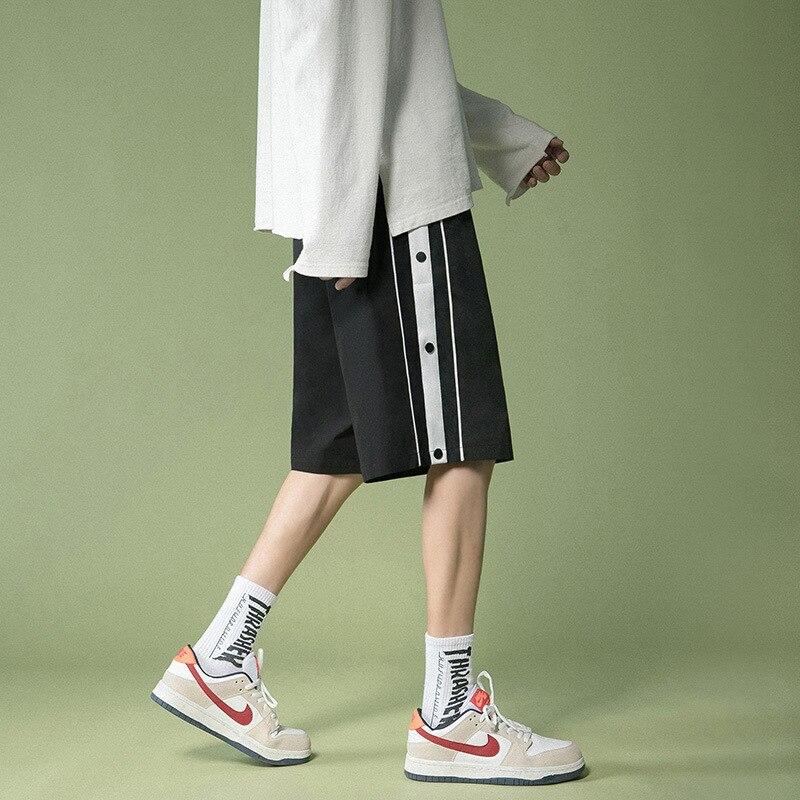 Мужские шорты в Корейском стиле, модные красивые повседневные свободные прямые летние брюки для бега, спортивные штаны красивые прямые диваны