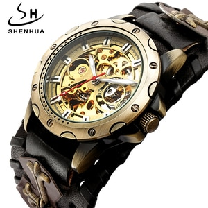 Luxury Brand Skeleton Automatic Mechanical Watch Men Retro Gothic Cool Clock Steampunk Self Winding Watches Leather Reloj Hombre