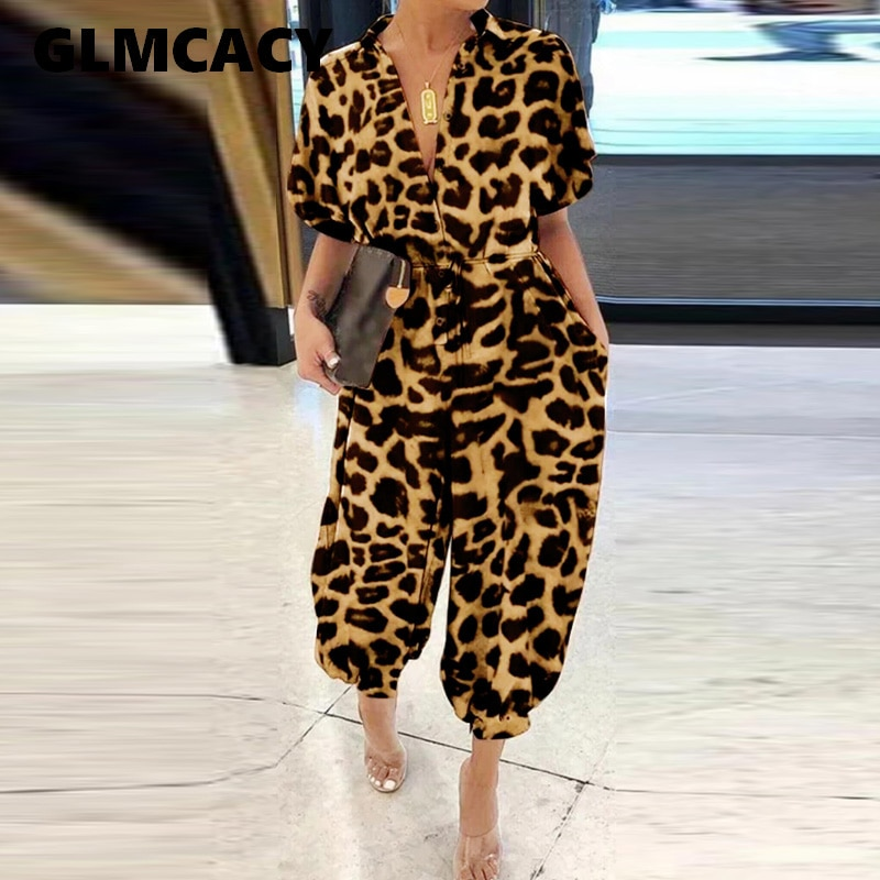 Mulheres Verão de Manga Curta Leopardo Jumpsuit Regular Fit Causal Chic Macacão Workwear Elegante Streetwear