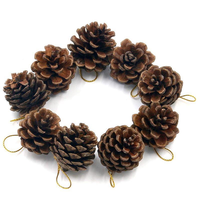 NUEVO PAQUETE DE 9 decoraciones decorativas colgantes de Pinecone árbol de Navidad