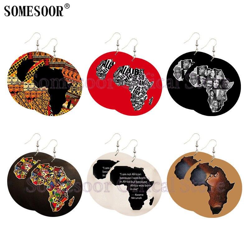 Pendientes de gota de madera con diseño de mapa africano de SOMESOOR, colgantes de madera con estampados artísticos de la Historia Negra de Héroes, regalos para mujeres
