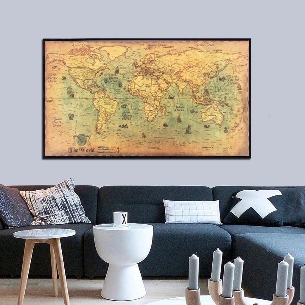 Mapa del mundo decoración de la pared náuticas océano mar mundo mapa del mundo etiqueta arte decoración hogar moda pared mapa mundi карта мира X2