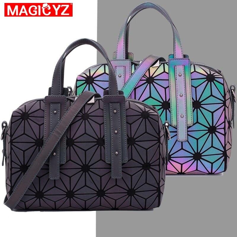 MAGICYZ, bolso brillante con diseño geométrico de entramado de diamantes, bolso cruzado Boston luminoso para mujer, bolso de hombro de diseño de alta calidad