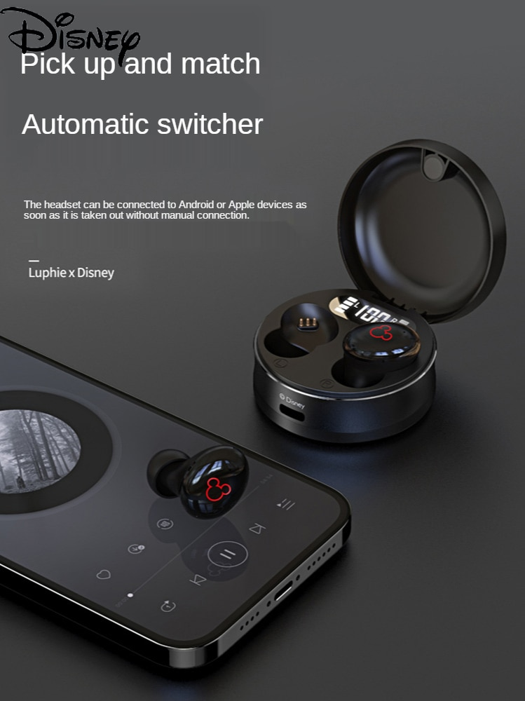 Disney Cartoon Mickey Portable Wireless Bluetooth Headset for IPhone Binaural In-ear Sports Noise Reduction Game for Huawei enlarge