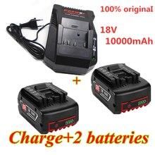 18v 10000mAh Rechargeable pour Bosch 18V batterie Backup10.0Ah remplacement Portable BAT609 indicateur lumineux + chargeur de batterie 3A